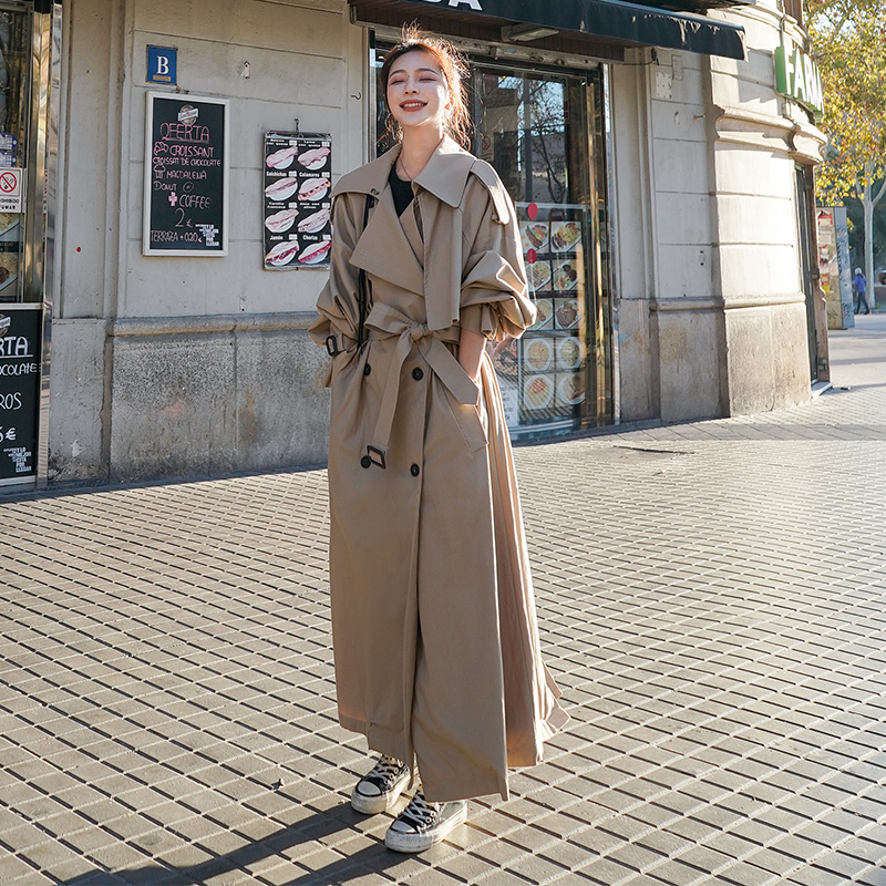 Korean Style Loose Oversized X Long Women s Trench Coat Double Breasted Belted Lady Cloak Windbreaker Korean Style Loose Oversized X-Long Women's Trench Coat Double-Breasted Belted Lady Cloak Windbreaker Spring Fall Outerwear Grey