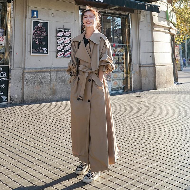 Korean Style Loose Oversized X Long Women s Trench Coat Double Breasted Belted Lady Cloak Windbreaker