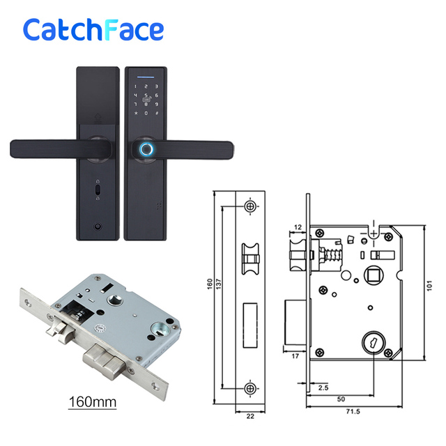 Fingerprint Lock Smart Card Digital Code Electronic Door Lock Home Security Mortise Lock with 5 Mortise Size Options 2
