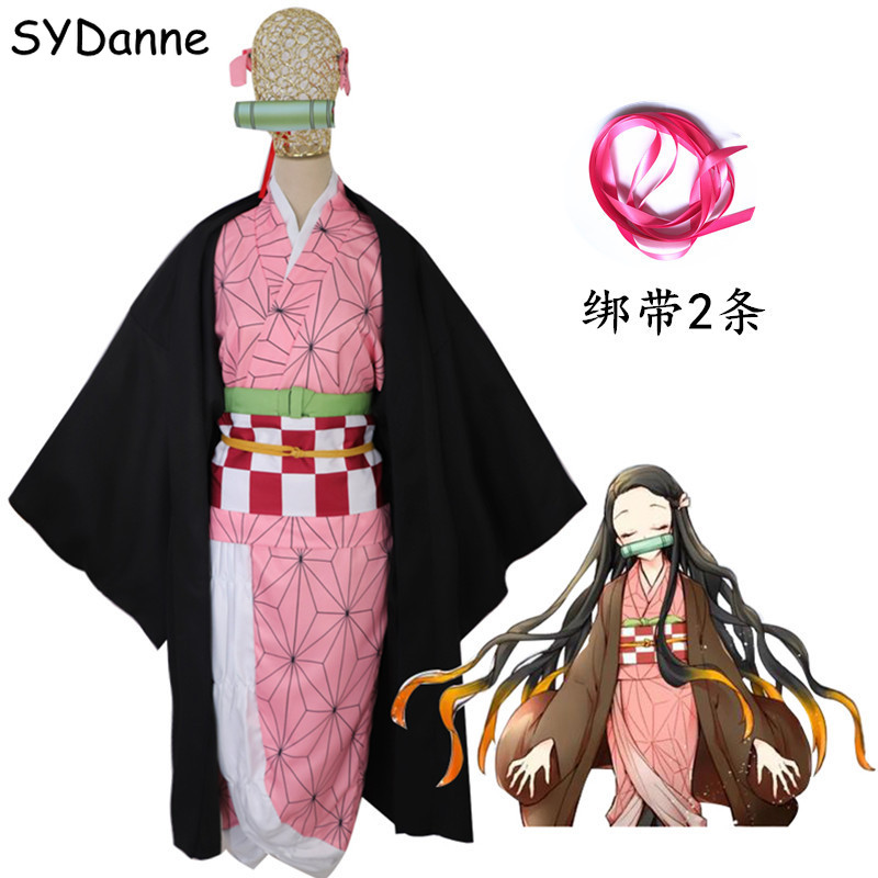 Anime Demon Slayer: Kimetsu No Yaiba Cosplay Costume Kamado Nezuko Tanjirou Kimono Dress Uniform Synthetic Hair Wigs Women Girls