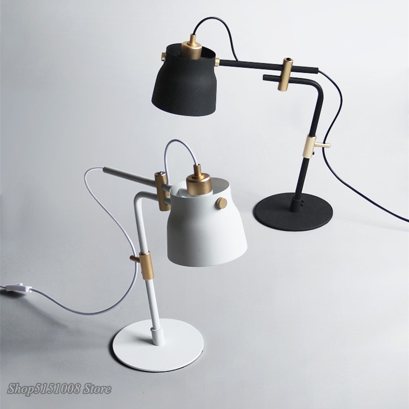 Modern Iron Art Desk Lamp Pole Cylinder Lampshade  Long Adjustable Industrial Retro Table Light Creative Lighting E27 Fixtures|Desk Lamps| |  -