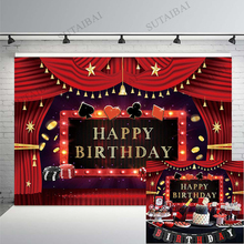 Vegas Party Backdrop Photography Booth Casino Poker Cards Theme Baby Shower Newborn Birthday Photocall Background Photophone