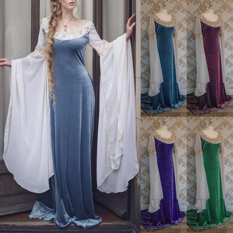Renaissance Women Costume Gothic Medieval Maiden Fancy Cosplay Halloween Costumes Victorian Trumpet Sleeve Robe Dress Costume Aliexpress