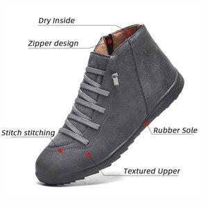 Image 2 - 2020 חדש גברים מגפי עור קרסול מגפי נשים גבוהה באיכות PU מדבר מגפי זוגות מוך גברים סניקרס נעליים יומיומיות Dropshipping