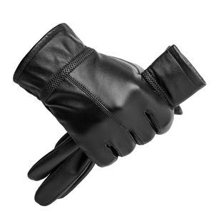 Image 5 - BISON DENIM erkek hakiki deri eldiven dokunmatik ekran koyun derisi sıcak eldivenler yeni kış kaliteli erkek sıcak kabartmak eldiven S003