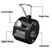 Hand Tally Click Counter With 4 Digit Mechanical Counter 0000 To 9999 Number Manual Clicking Hand Counter For Running Kicking(China)