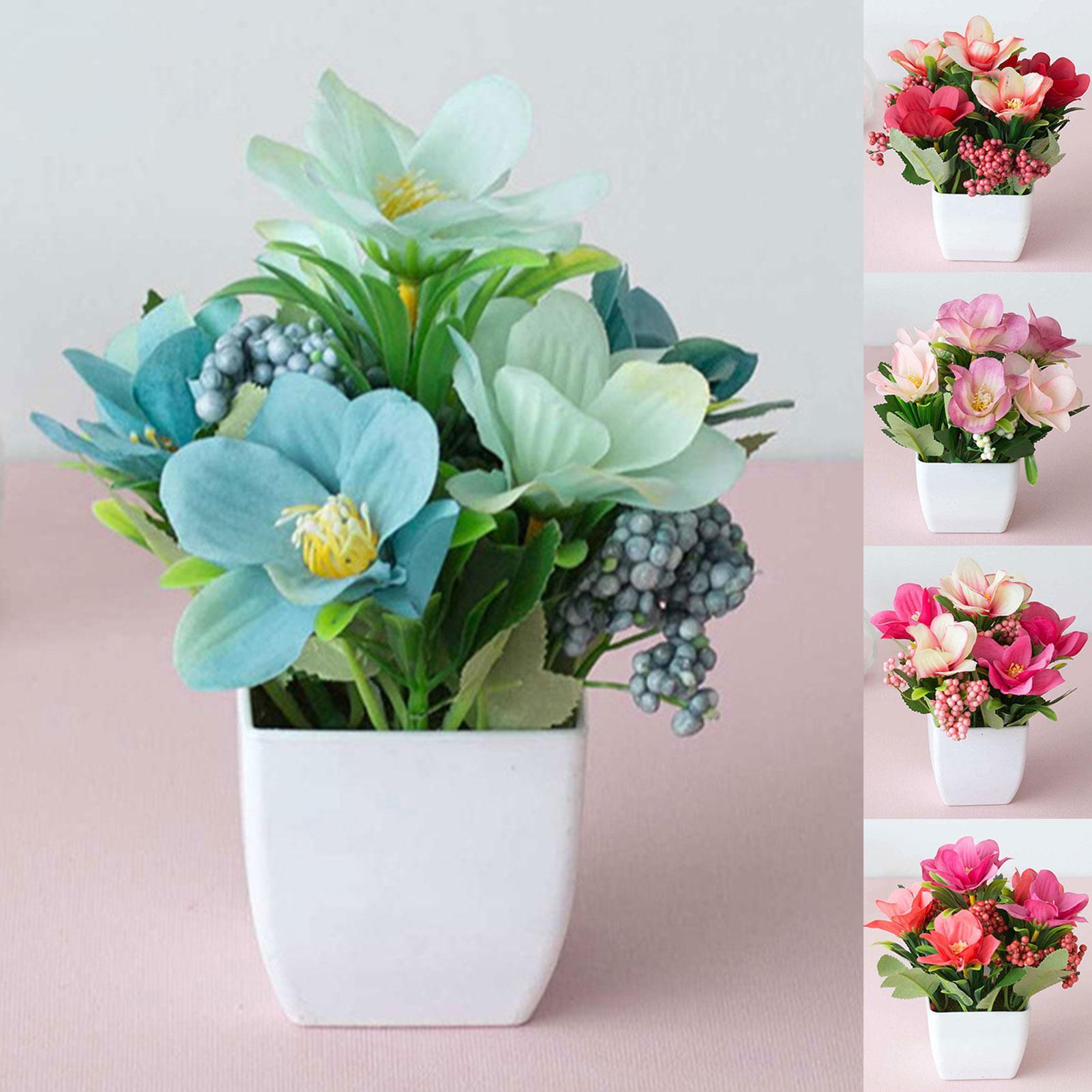 Plastic Artificial Rose Flower Plant Potted Bonsai Garden Party Table Ornament  Artificial Vivid Color Bonsai Flower Home Office