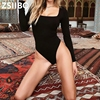 Forefair Sexy Bodycon Bodysuit Long Sleeve Square Neck Sheath Open Crotch Basic White Black Red Overalls Women Body Top 2