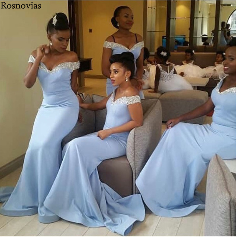 Arabic Light Blue Mermaid   Bridesmaid     Dresses   2019 Off Shoulder Sweep Train Beaded Maid Of Honor Long Prom Party   Dresses   Custom