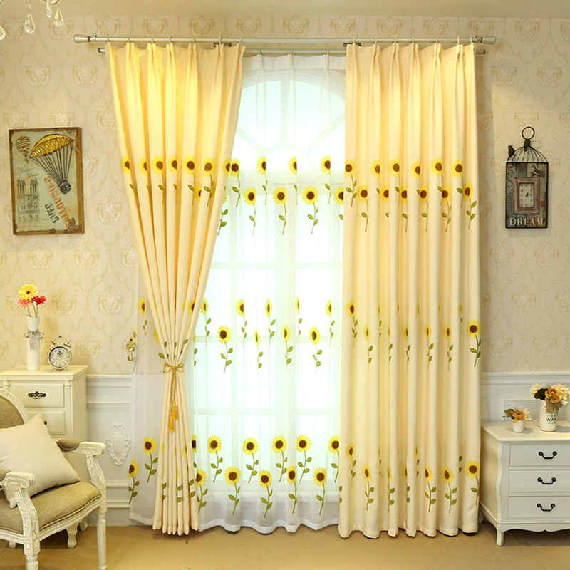 Yellow Sunflower Curtain Bedroom Floral Curtains Fabric Window Tulle Home Sheer For Living Room Awb0124 Buy At The Price Of 27 57 In Aliexpress Com Imall