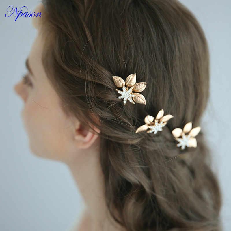Robe de mariée épingle à cheveux doré accessoires cheveux cristal décorer mode épingles à cheveux Grils diadème mariée cheveux ornements U Type