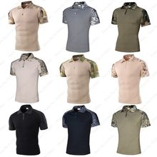 Men ACU Camouflage Short Sleeve Polo T-Shirt Outdoor Tactical Military Uniforms Hunting Tee Tops Combat Blouse Soldier Army Suit(China)