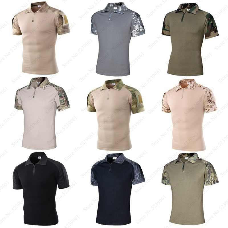 Men ACU Camouflage Short Sleeve Polo T-Shirt Outdoor Tactical Military Uniforms Hunting Tee Tops Combat Blouse Soldier Army Suit