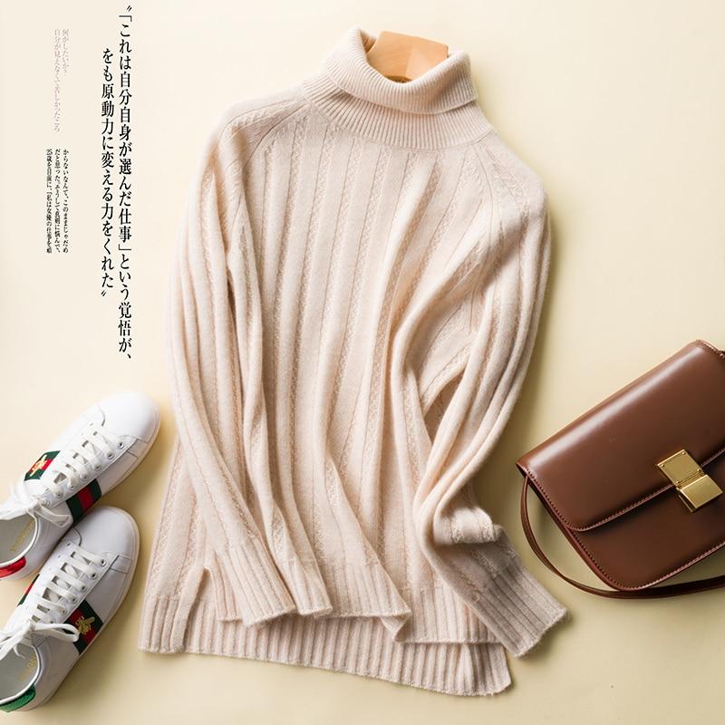 Women's Autumn Winter Turtleneck Thickening Female Pullover 100% Cashmere Sweater Knitting Jumper Warm Long Sleeve Women Sweater
