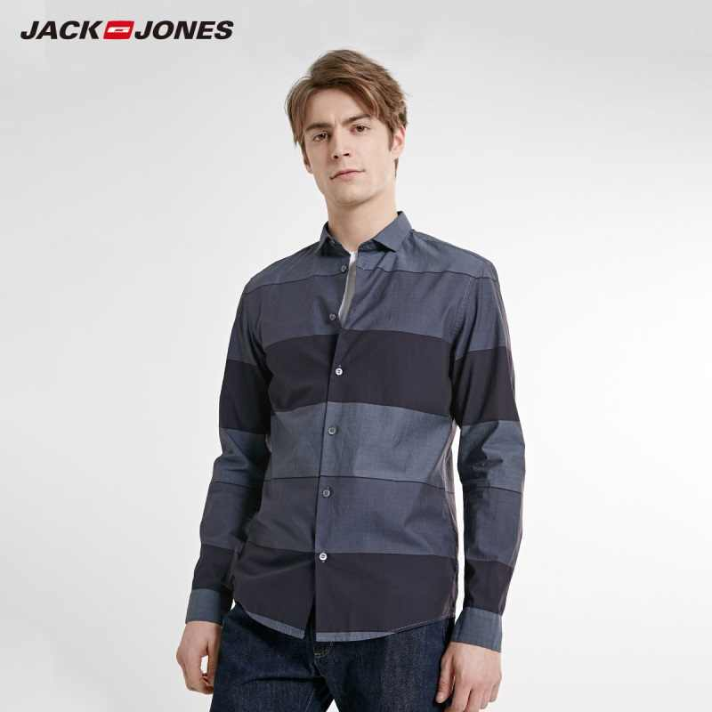 JackJones Мужская Весенняя приталенная полосатая контрастная Повседневная рубашка с длинными рукавами Стильная мужская одежда | 219105564