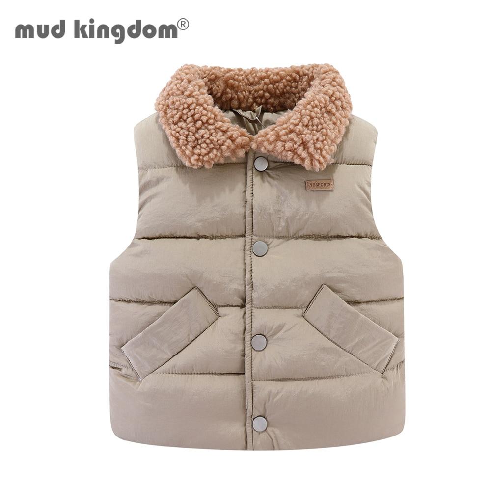 Mudkingdom Kids Jacket Vest Autumn Winter Sleeveless Wool Lapel Colar Children Outerwear 1