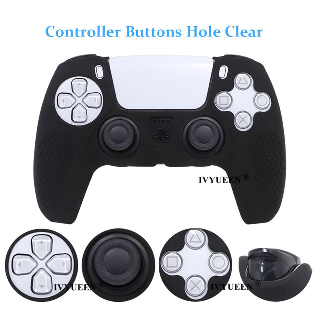 IVYUEEN Anti-slip Silicone Cover Skin for Sony PlayStation Dualshock 5 PS5 Controller Case Thumb Stick Grip Cap for DualSense 5
