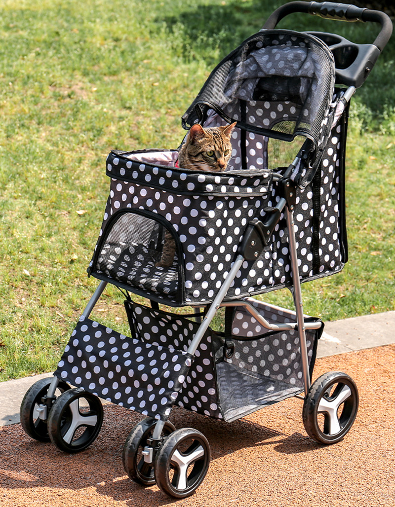 Cochecito de viaje plegable para mascotas, cochecito de paseo para perro y gato, cochecito para correr con 4 ruedas, soporte plegable para tazas, carrito, ruedas de viaje