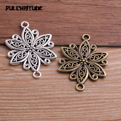 PULCHRITUDE 4pcs 29*40mm Two Color Zinc Alloy Vintage Hollow Flower Connectors Jewelry Making DIY Handmade Craft