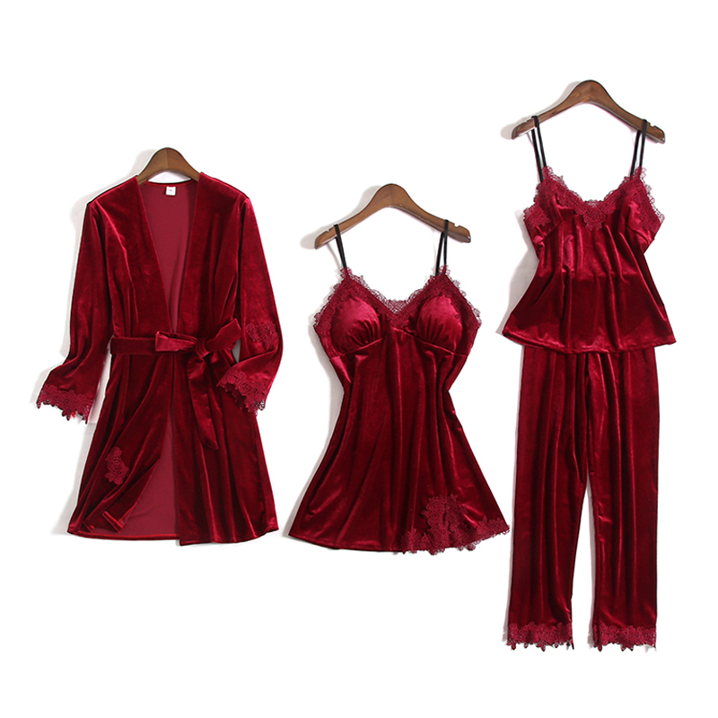 Women Pajamas Set Gold Velvet 4 Pieces Gown Sets Pajamas Sets Female Sexy Lace Robe Sleepwear Long Sleeveless Winter Home Suit