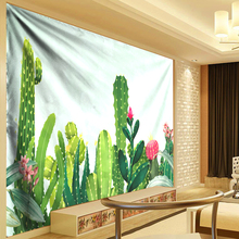 Boho Cactus Tapestry Watercolor Wall Hanging Bohemian Mandala Tapestries Feather Succulent Shawl Throw Art Cloth Large