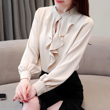 Women Shirts Korean Fashion Chiffon Blouses Shirt Plus Size Elegant Satin Blouse Womens Tops and
