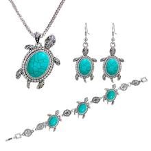 цена на 3Pcs/Jewelry Sets Faux Tortoise Dangle Chain Necklace Bracelet Hook Necklace/Bracelet/Earrings For Women Tortoise Pend