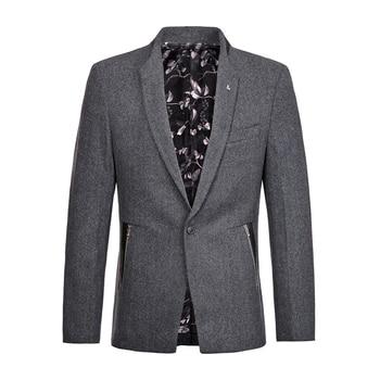 Fall Winter Smart Casual Mens Male Suit Collar Slim Fit One Button Grey Woolen Blazer Coat , Men Patchwork Wool Coats Blazers