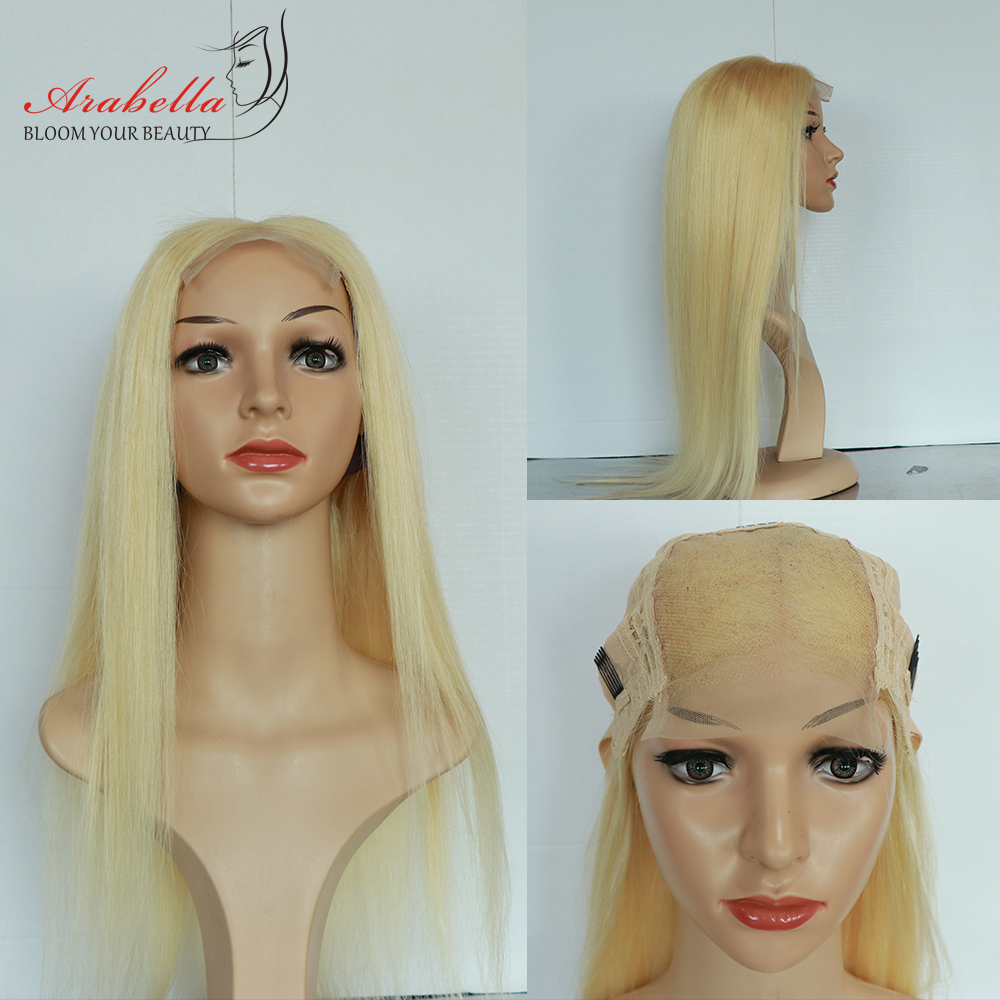 Blonde 4x4 Closure Wig Peruvian Straight Remy Hair 613 Lace Closure Wig Arabella 100% Human Hair Wigs For Women