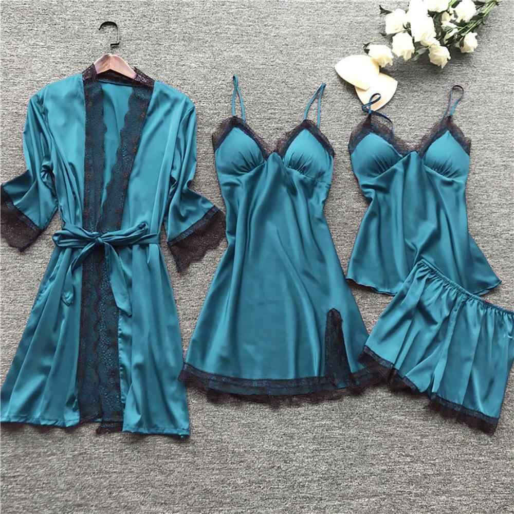 ZHDAOR 4 ชิ้นผู้หญิงชุดนอนชุดซาตินชุดนอนผ้าไหมชุดนอนชุดนอนสปาเก็ตตี้สายคล้องคอ Sleep Lounge Pijama กับแผ่นอก
