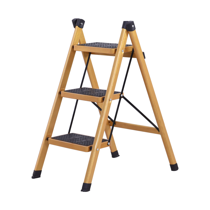 Multifunctional Anti- Slip Ladder 3 Tread Safe Step Ladder Portable Step Stools With Tool Tray Golden Color