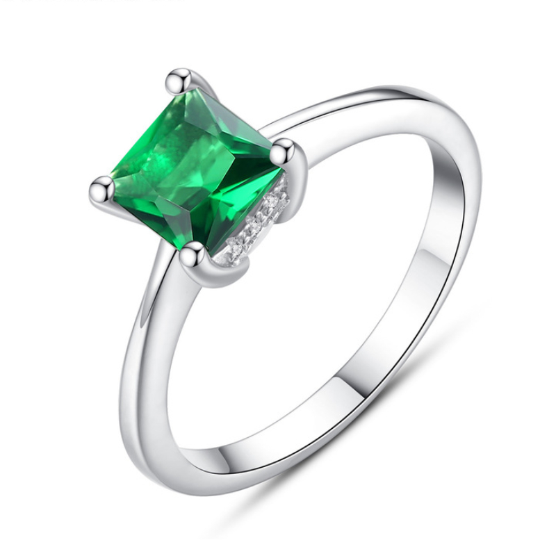 925 Pure Silver Zircon Rings For Women Emerald Gemstone Classic Silver Wholesale Female Wedding Party Ring  Fine Jewelry Gift