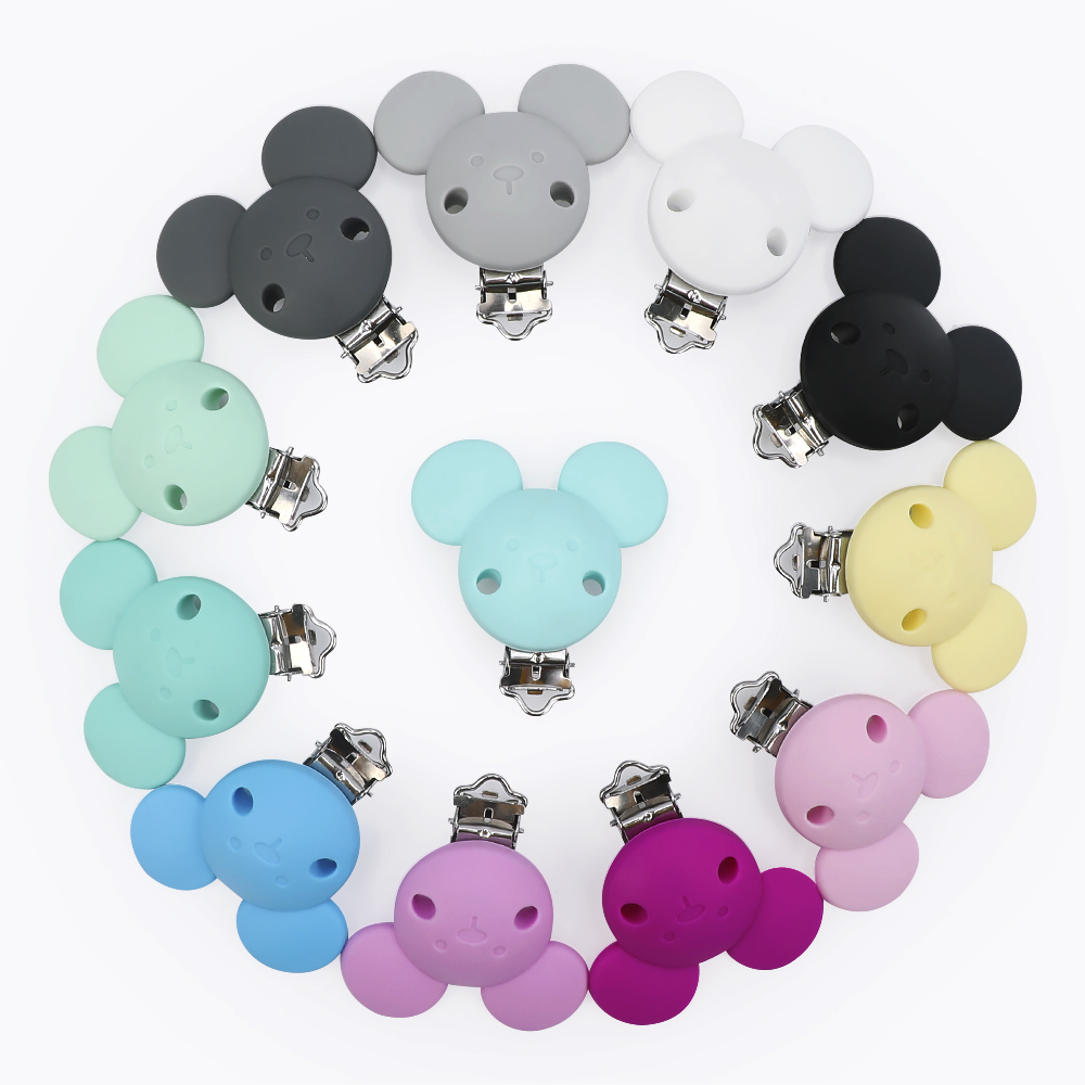 TYRY.HU 3pcs Mouse Pacifer Clips Accessories DIY Baby Dummy Chain Nipple Holder Soother Nursing Teething Toy Silicone Clip