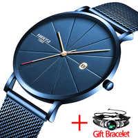 NIBOSI zegarek damski i męski zegarek Top marka luksusowa słynna sukienka modne zegarki Unisex Ultra cienki zegarek Relojes Para Hombre