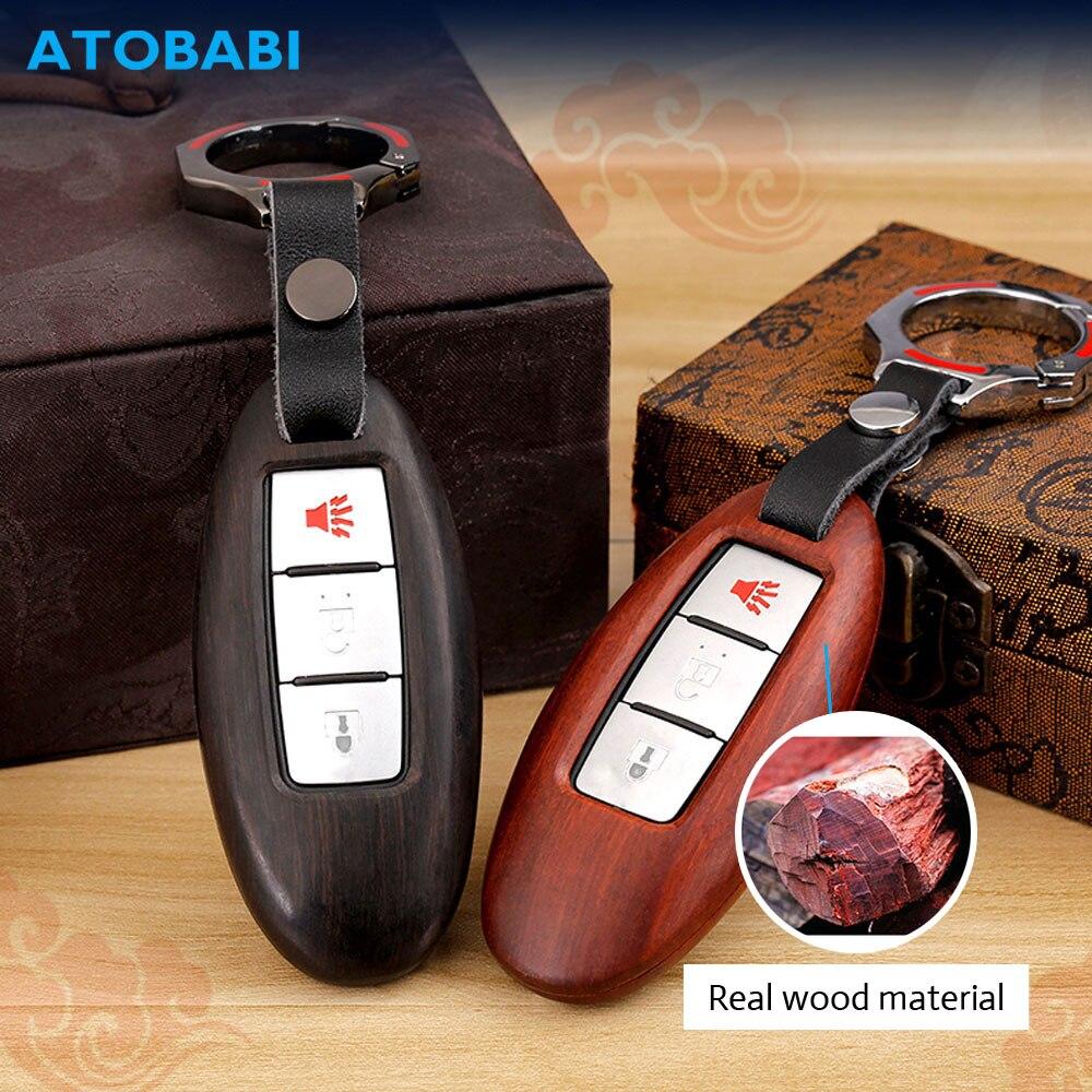 Étui à clés en bois pour Nissan 350Z Almera Altima Armada Qashqai Cefiro March Maxima Infiniti sac de couverture de télécommande de luxe