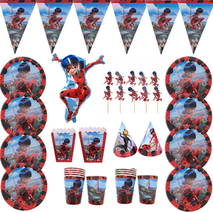 Ladybug Girl Themer Baby Birthday Pack Cute Cartoon Paper Cup Plates Napkins Box Disposable Tableware Set Party Supplies Balloon