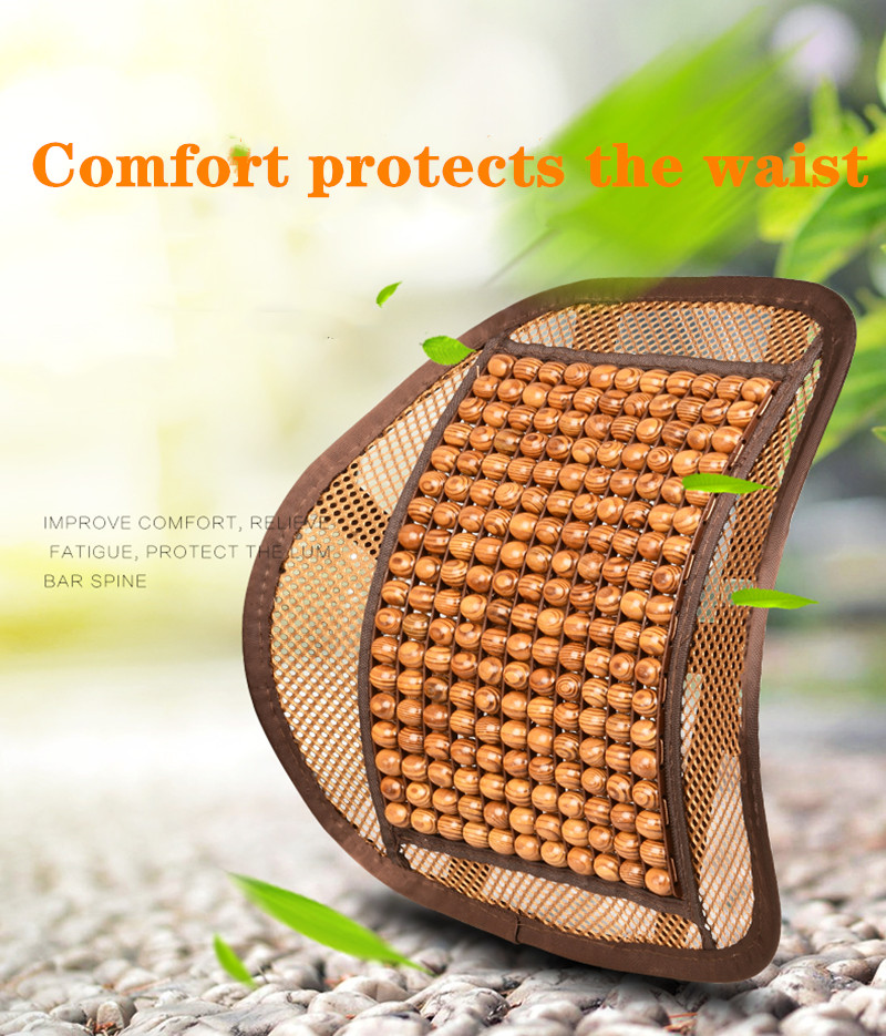 No deformation/odor40*40CM Car Back Massage Lumbar Support wooden beads waist Chair Relief Back Pain Breathable waist cushion