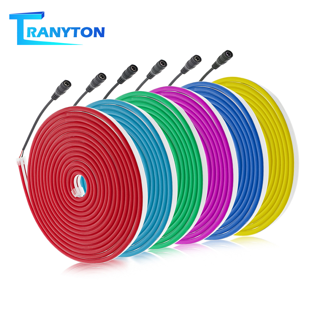 5m DC12V Flexible Neon Light 2835 Soft Light Tube Tape Waterproof LED Neon Strips White Blue Pink Red Green Yellow Purple Orange