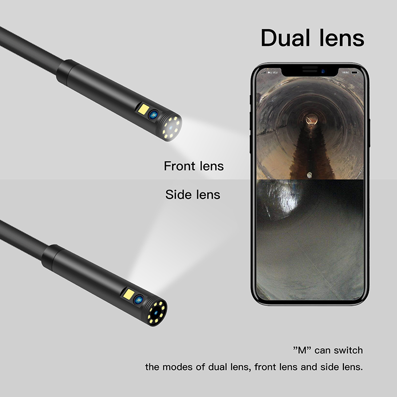 Deal[1080P 8MM Portable Dual Lens Handheld Endoscope Snake Tube Industrial Inspection Camera With 2600mAh 9 LED IP68 Waterproof Cam