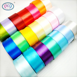 HL 5 meters 15/20/25/40/50mm Solid Color Satin Ribbons Wedding Decorative Gift Box Wrapping Belt DIY Crafts(China)