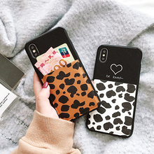Lovely Leopard Print Card Pocket Phone Case For iPhone 7 8 6 6s Plus X XR XS Max Soft TPU Slot Holder Bags Back Cover