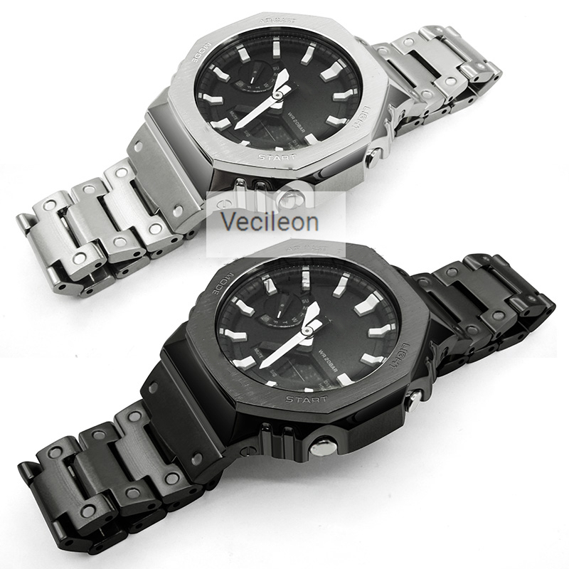316L Stainless Steel Watchband Bezel/Case For GA-2100 Metal Strap Watch Band Steel Belt With Tools For Man/Women Holiday Gift