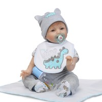 22 Lovely Reborn Baby Doll Full Silicone With Dinosaur Shape Gray Clothes Newborn Baby Dolls Silicon Dolls