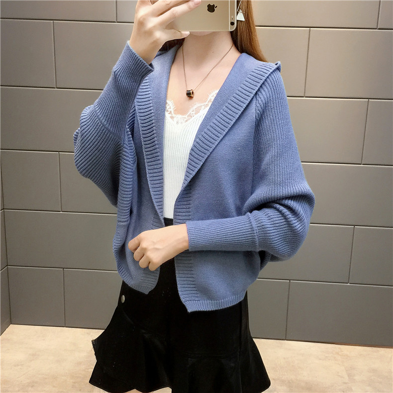 2019 Free send New style Korean loose and comfortable Autumn women Cardigan Sleeve of bat Hooded Sweater coat 151