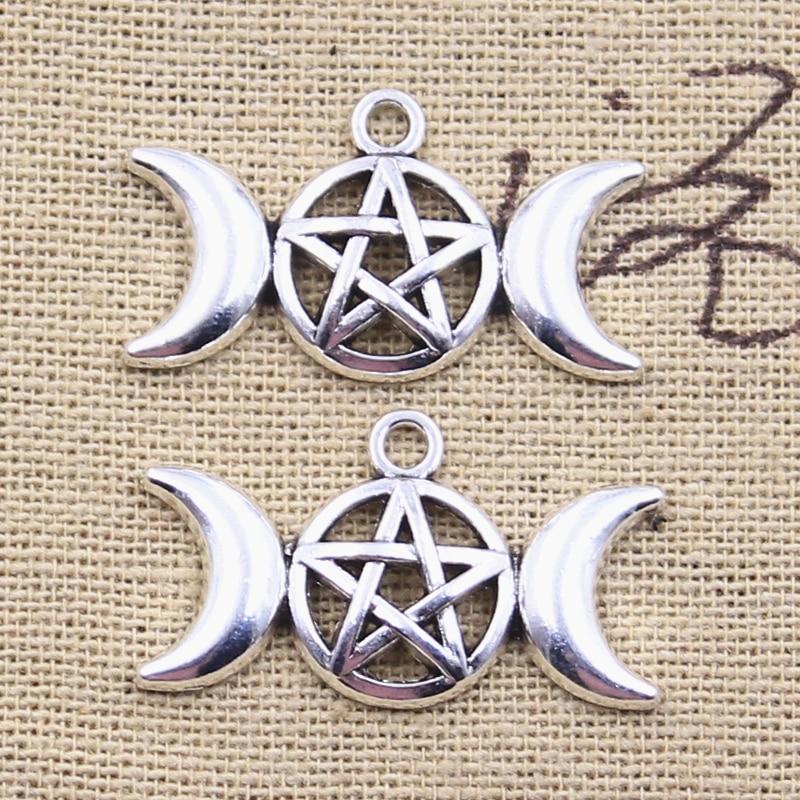12pcs Charms Triple Viking Moon Star Goddess 16x30mm Antique Silver Color Pendants DIY Making Findings Handmade Tibetan Jewelry