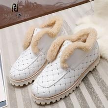 Outono inverno novo plus veludo sapatos de algodão quente casual confortável deslizamento-no dedo do pé redondo plana botas de neve de lã real sapatos de grife