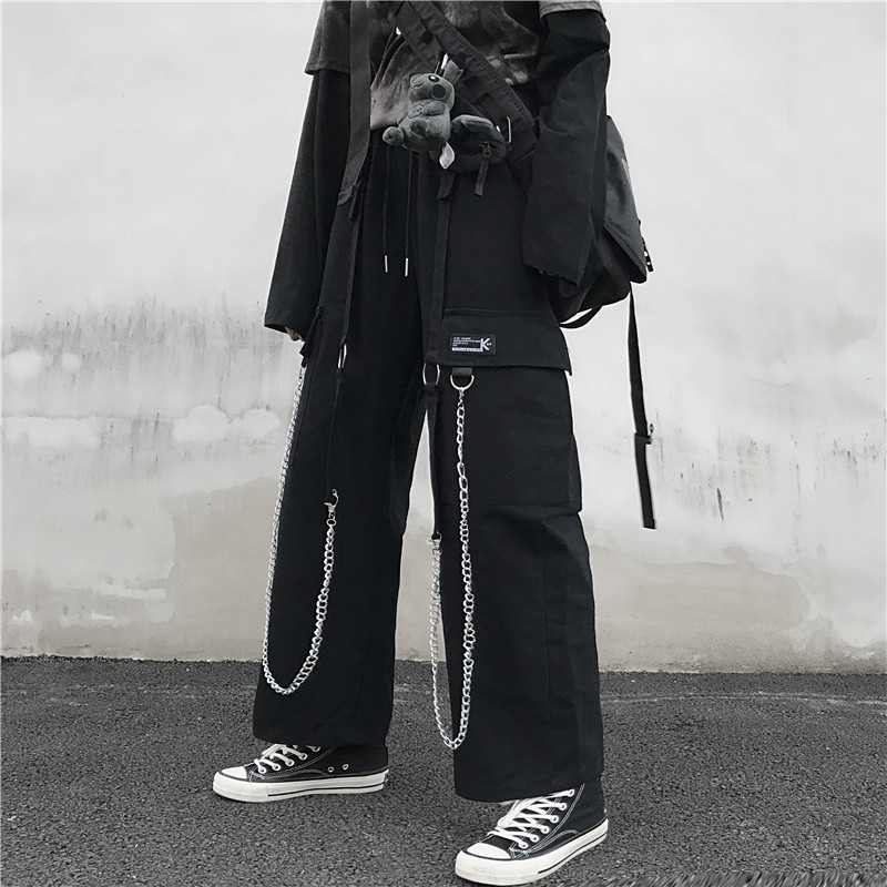Focal20 Streetwear Solid Chain Tape Female Pants Elastic Waist Loose Wide Leg Lady Trousers Casual Spring Autumn Female Bottoms