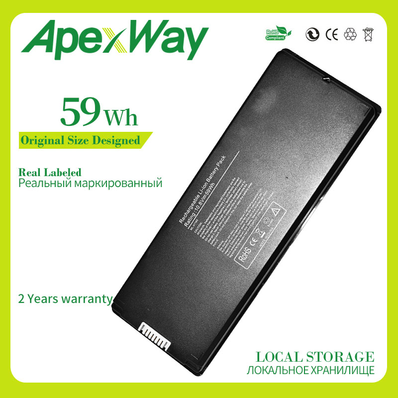 """Apexway A1181 Black Laptop Battery for Apple MacBook 13"""" A1185 MA561 MA561FE/A MA561G/A MA254 MA699 MA700 661-4703 59WH 10.8V"""