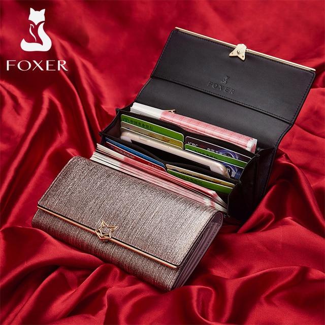 FOXER Brand Women Split Leather Wallets Female Clutch Bag Fashion Coins Card Holder Luxury Purse for Ladies Women's Long Wallet 3