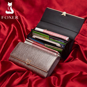 Image 3 - FOXER Brand Women Split Leather Wallets Female Clutch Bag Fashion Coins Card Holder Luxury Purse for Ladies Womens Long Wallet